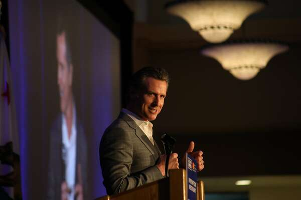 California Gov. Gavin Newsom speaks about the Opportunity Zones