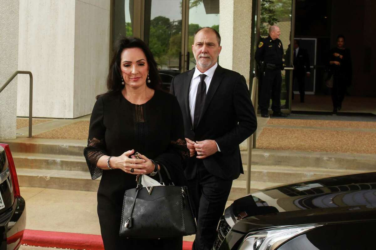 Alicia and Lance Smith leaving Congregation Beth Israel after the services for Houston philanthropist Lester Smith.