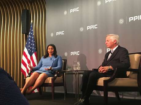 San Francisco Mayor London Breed and Public Policy of California CEO Mark Baldassare in conversation on Monday, March 19, 2019.