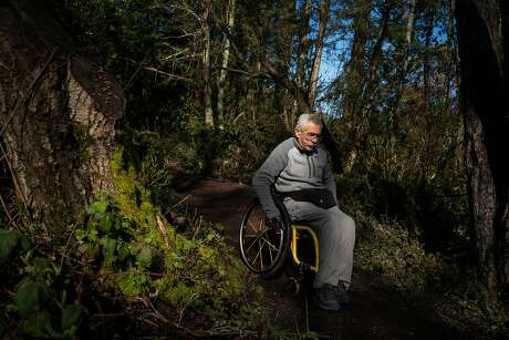 Bob Coomber, 64, hikes down a trail at Tilden Regional Park in Berkeley, Calif., on Monday, March 11, 2019.