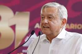 Mexican President Andres Manuel Lopez-Obrador speaking during a Monday afternoon press conference where officials announced plans to move forward with building a new refinery.
