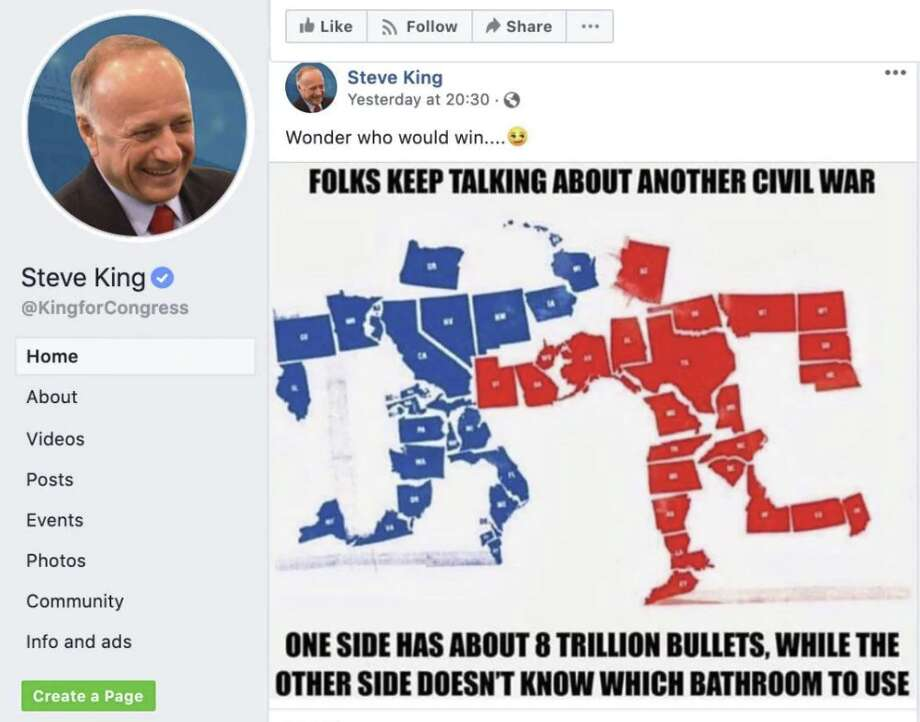 "Rep. Steve King's Facebook post about ""another civil war,"" which he deleted Monday, two days after sharing it."