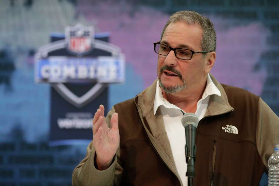 FILE - In this Feb. 27, 2019, file photo, New York Giants general manager Dave Gettleman speaks during a press conference at the NFL football scouting combine in Indianapolis. After a week of being beat up in the media over the trade of the popular star receiver Odell Beckham Jr., general manager Dave Gettleman went on the offensive, Monday, March 18, 2019, saying the trade was the best interests of the New York Giants and was a deal the organization could not refuse.  (AP Photo/Michael Conroy, File) Photo: Michael Conroy / Copyright 2019 The Associated Press. All rights reserved.