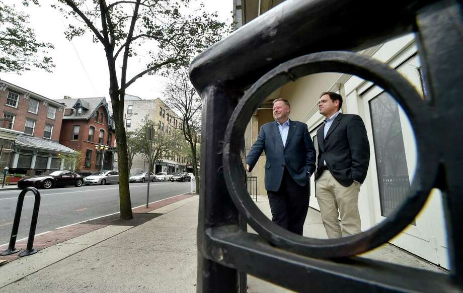 In this file photo from 2018, John Fisher, Executive Director of the Shubert Theatre/CAPA, left, and Josh Berenstein, Managing Director of the Long Wharf Theatre, at the former club space on the corner of College and Crown Streets on the bottom floor of the Crown Street Garage. Photo: Peter Hvizdak / Hearst Connecticut Media / New Haven Register