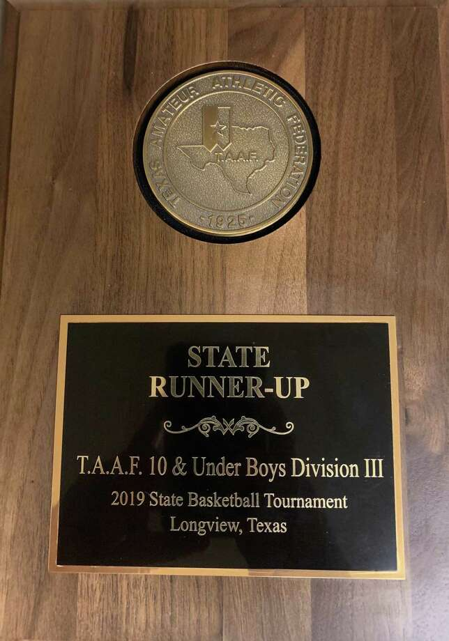 The plaque that was presented to the Deer Park 10U Warriors by TAAF officials Sunday afternoon at Longview High School's freshman gym. Photo: Courtesy Photo