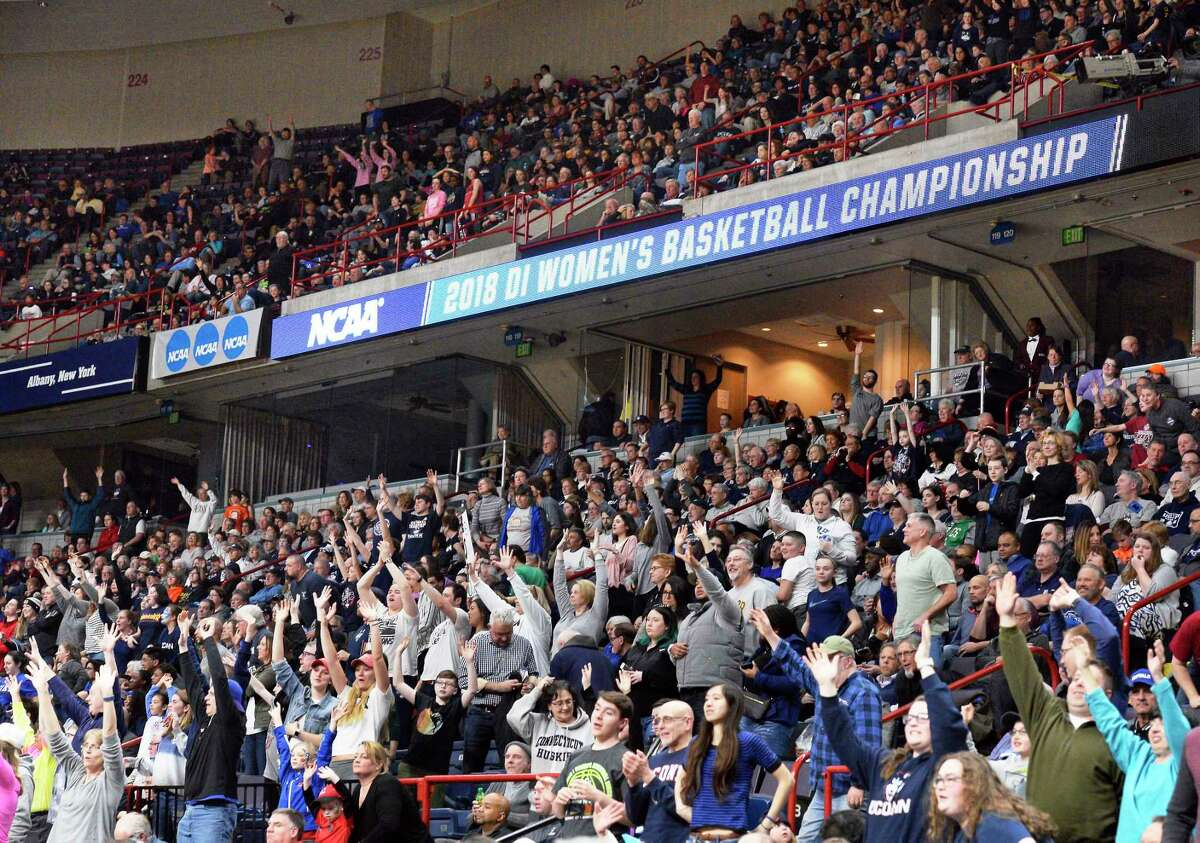Fans pack the Times Union Center to watch UConn and Duke in the NCAA Women's Basketball Tournament regional semifinal Saturday March 24, 2018 in Albany, NY. (John Carl D'Annibale/Times Union)