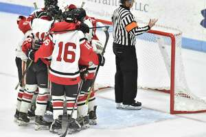 New Haven, Connecticut-Monday, March 18, 2019: Branford H.S. vs. Glastonbury H.S. during the first period of the CIAC 2019 State Boys Ice Hockey Tournament Division II championship game Monday evening at Ingalls Rink at Yale University in New Haven.