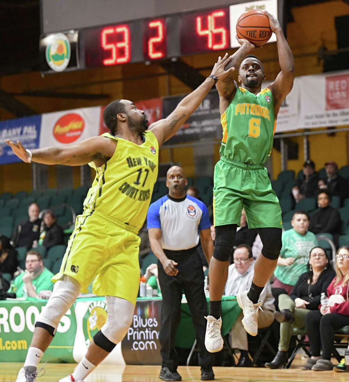 Albany Patroons' Joshua Cameron takes shot guarded by New York Court Kings' Jerrome Jones during a basketball game at the Washington Avenue Armory on Monday, March 18, 2019 in Albany, N.Y. (Lori Van Buren/Times Union)