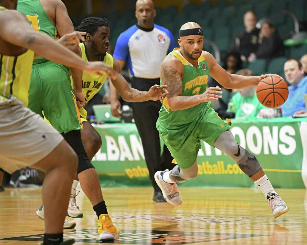 Albany Patroons' Lloyd Johnson drives to the net during a basketball game against the New York Court Kings at the Washington Avenue Armory on Monday, March 18, 2019 in Albany, N.Y. (Lori Van Buren/Times Union)