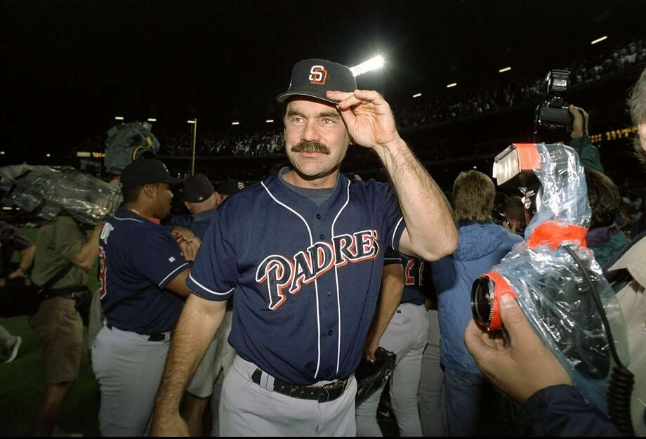 Bochy celebrates the Padres' NL pennant-clinching win over the Braves in 1998, his fourth season as a big-league manager. Photo: Doug Pensinger / Allsport / Getty Images 1998