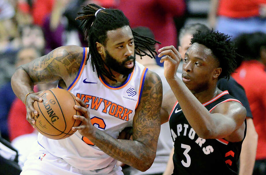 Toronto Raptors forward OG Anunoby (3) shadows New York Knicks centre DeAndre Jordan (6) during first half NBA basketball action in Toronto, Monday, March 18, 2019. (Frank Gunn/The Canadian Press via AP) Photo: Frank Gunn / The Canadian Press
