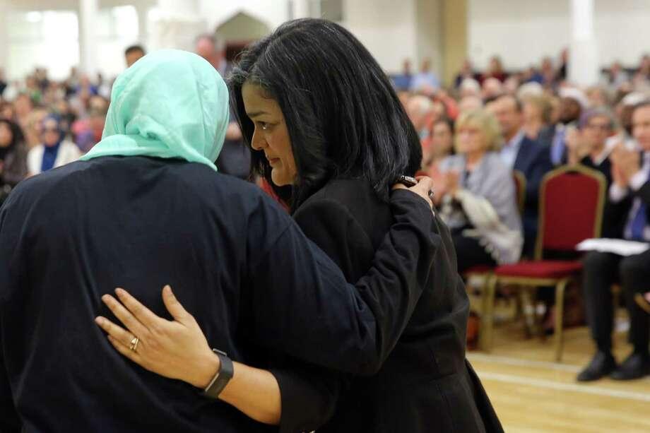 "U.S. Rep. Pramila Jayapal (r): ""Enormous victory."" Photo: Genna Martin / seattlepi.com"