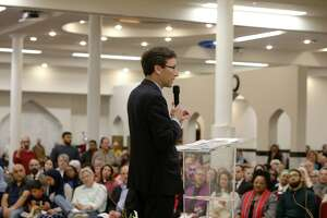 Washington State Attorney General Bob Ferguson speaks during an interfaith vigil and anti-islamophobia teach-in at the Muslim Association of Puget Sound, held in response to last week's mass-shooting in Christchurch, New Zealand, Monday, March 18, 2019.