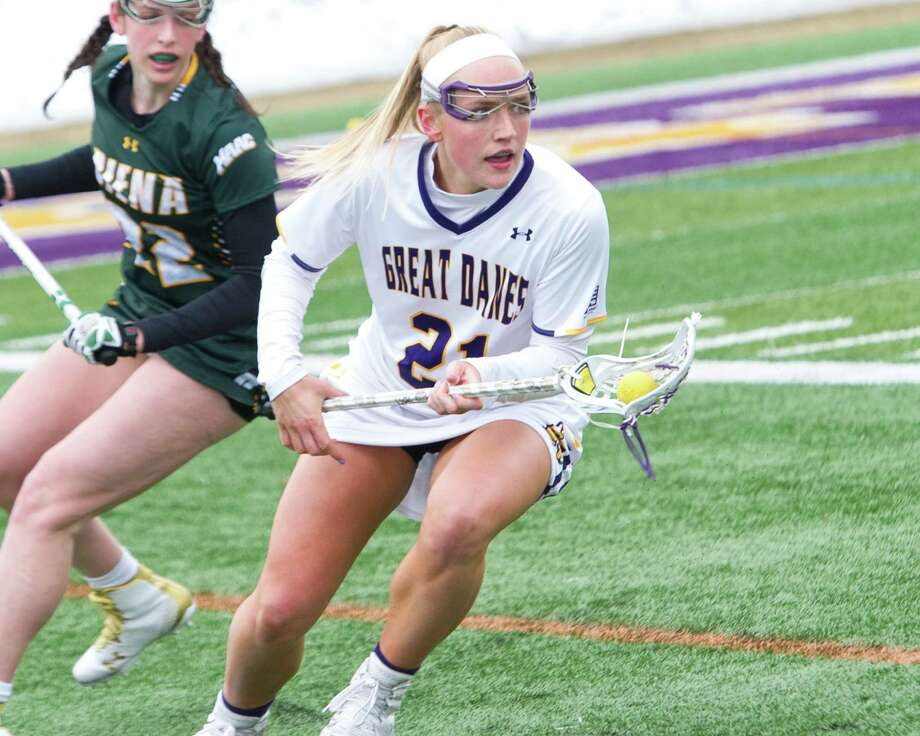 University at Albany junior Jordyn Marr heads upfield against Siena during a game at Casey Stadium on Saturday, March 16, 2019. (Jim Franco/Special to the Times Union)