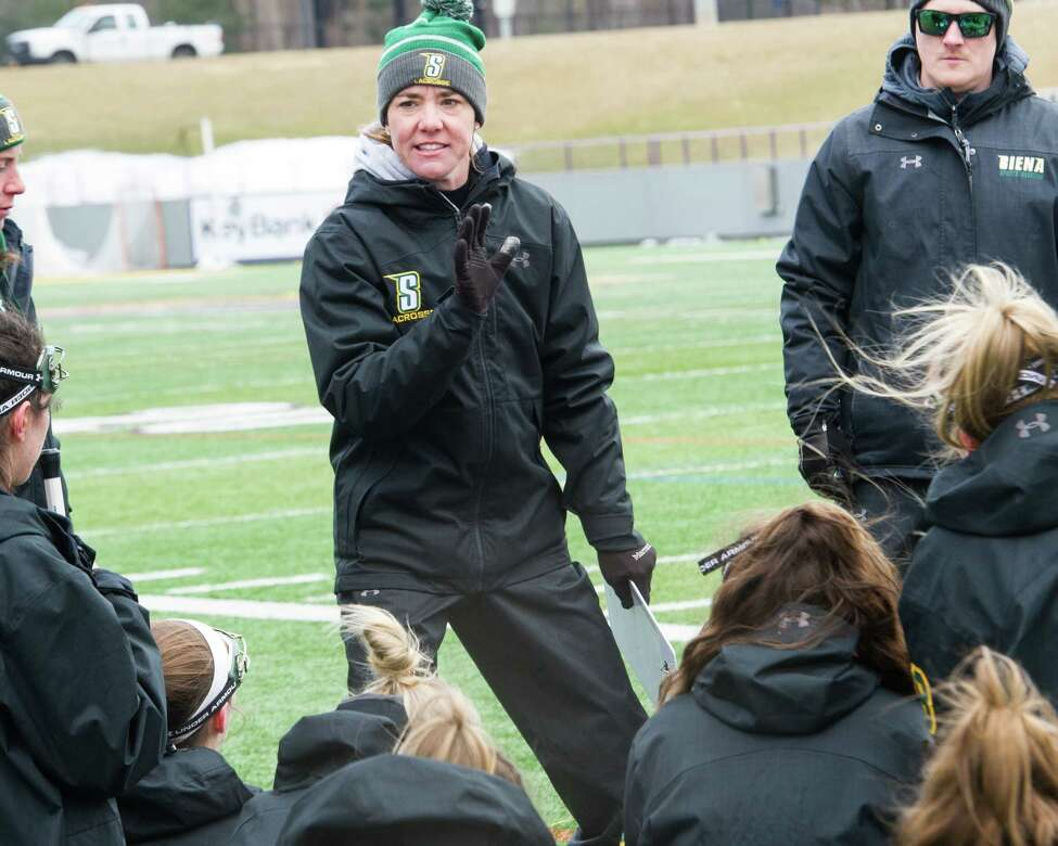 Siena head coach Abigail Rehfuss gives her team instructions during halftime of a game at the University at Albany's Casey Stadium on Saturday, March 16, 2019. (Jim Franco/Special to the Times Union)