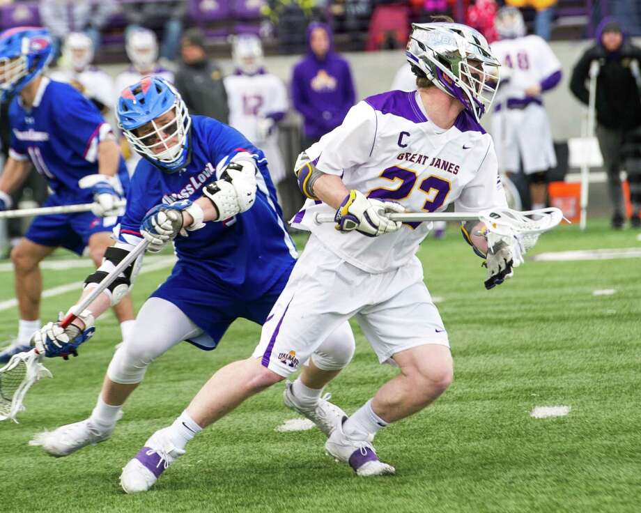 University at Albany senior Jack Burgmaster heads upfield against the University of Massachusetts Lowell during the team's home opener at Casey Stadium on Saturday, March 16, 2019. (Jim Franco/Special to the Times Union)