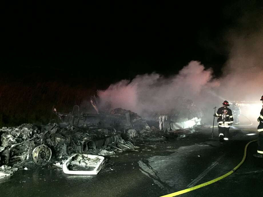 Multiple lanes of westbound Interstate Highway 580 near the summit of the Altamont Pass in unincorporated Alameda County are currently blocked due to a big rig fire early Tuesday morning, according to the California Highway Patrol. Photo: Alameda County Fire