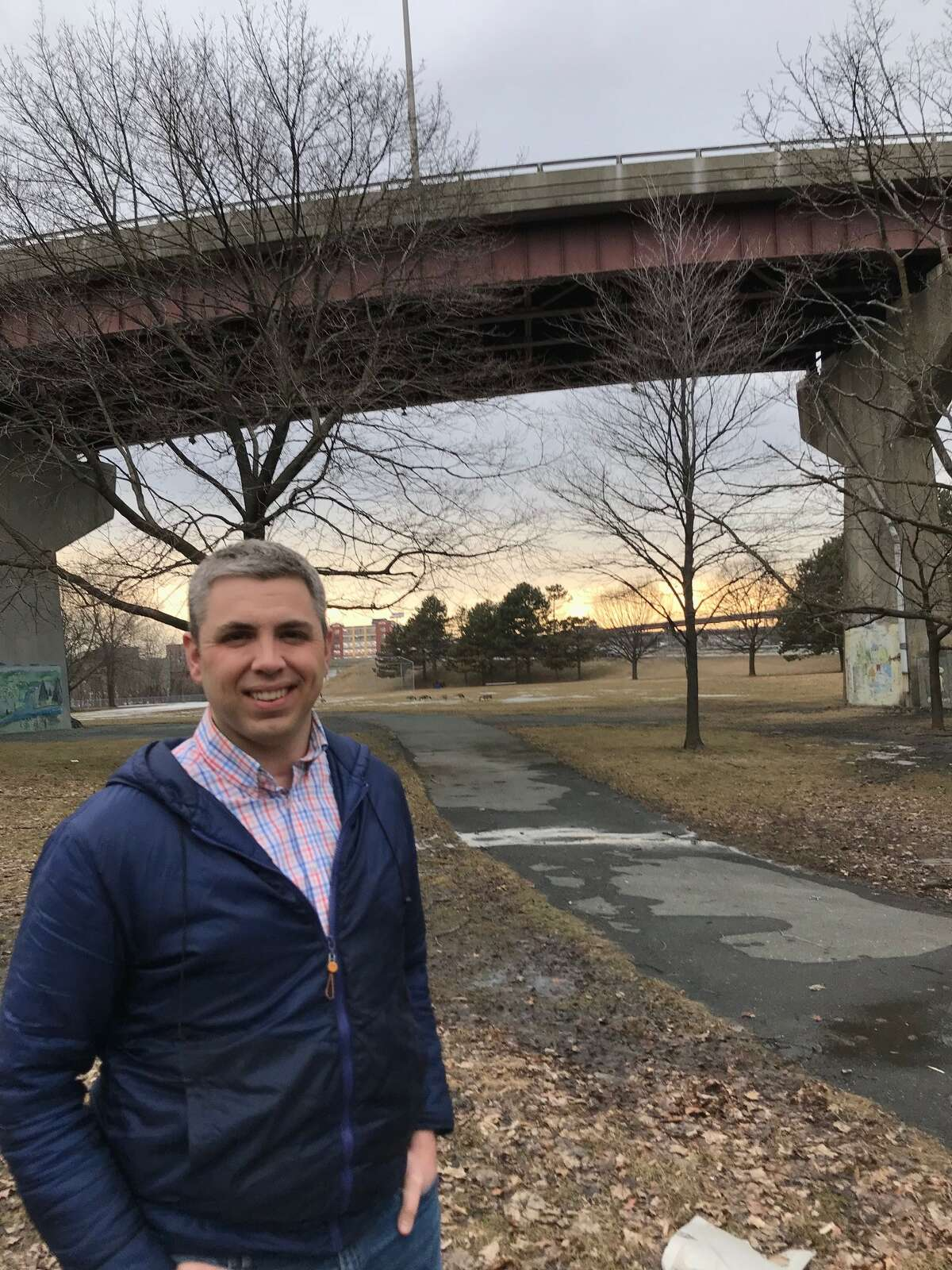 Local historian Matt Malette at the former Riverside Park on what had been Bonacker Island, where Roger Connor hit the first grand slam in Major League Baseball history for the Troy Trojans on Sept. 10, 1881.