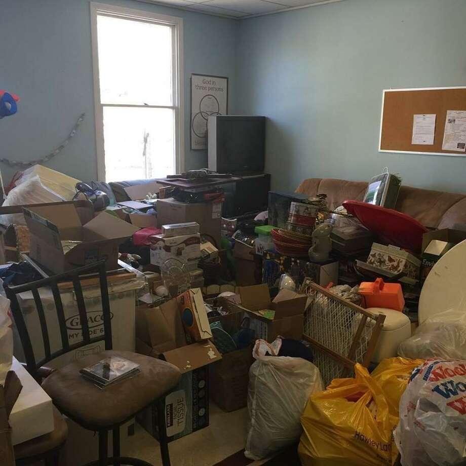Bags of items have been collected for a charity tag sale that will take place March 24, 2019 at Monroe Congregational Church, 34 Church St., Monroe. Photo: Contributed / Jennifer McGlinchey Gingras