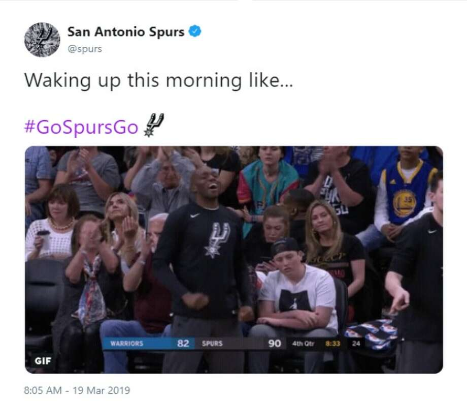 @spurs: Waking up this morning like... Photo: Twitter Screenshot