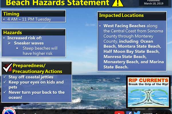 "An energetic westerly swell reached the West Coast early Tuesday, leading the National Weather Service to issue a beach hazard statement with the warning: ""Never turn your back to the ocean."""
