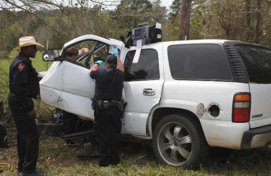 A man was air lifted to a local hospital after he had a medical emergency and crashed his vehicle into several trees Monday afternoon. Photo: Jasper Volunteer Fire Department