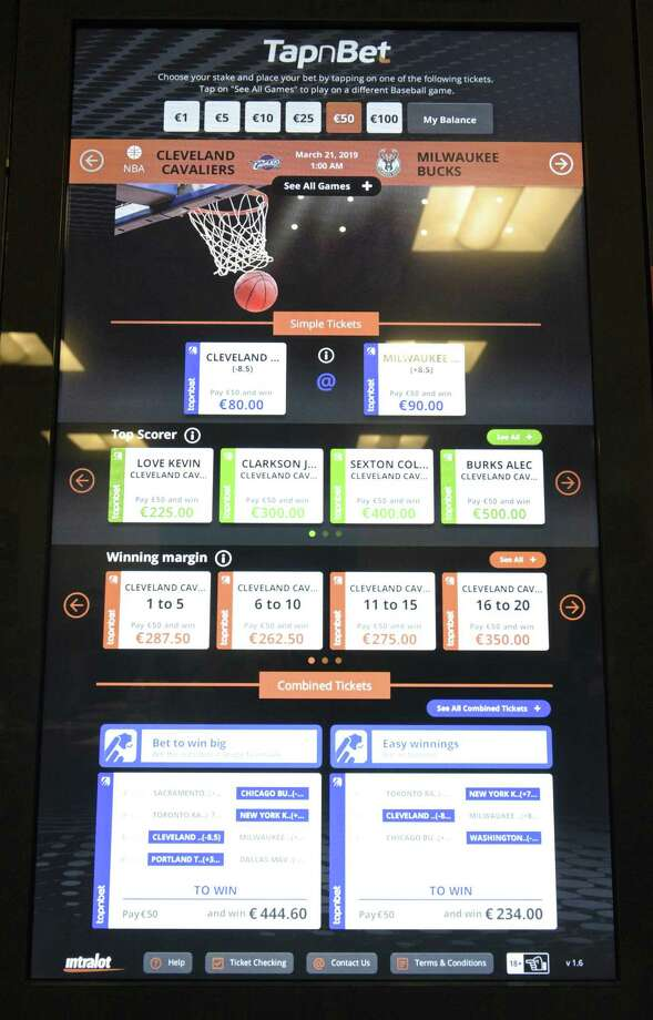 Intralot interactive betting terminal on display at the Connecticut Lottery head quarters. The Ct Lottery hosted an interactive educational forum to demonstrate some of the products that are available in the marketplace for online and mobile lottery and sports betting. Friday, March 15, 2019, in Rocky Hill, Conn. Photo: H John Voorhees III / Hearst Connecticut Media / The News-Times