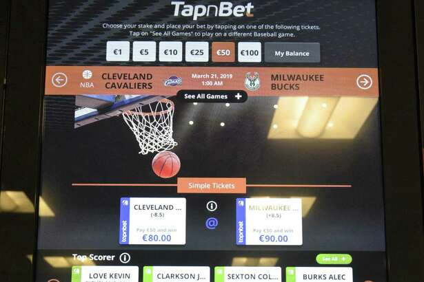Intralot interactive betting terminal on display at the Connecticut Lottery head quarters. The Ct Lottery hosted an interactive educational forum to demonstrate some of the products that are available in the marketplace for online and mobile lottery and sports betting. Friday, March 15, 2019, in Rocky Hill, Conn.