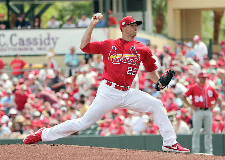 Cardinals pitcher Jack Flaherty (22) delivers a pitch during an exhibition spring training game against the Washington Nationals on March 11 in Jupiter, Fla. Photo: AP Photo