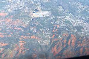 Photos of a super bloom of California poppies around Lake Elsinore were captured aboard a plane that took off from Los Angeles International Airport on March 15, 2019.