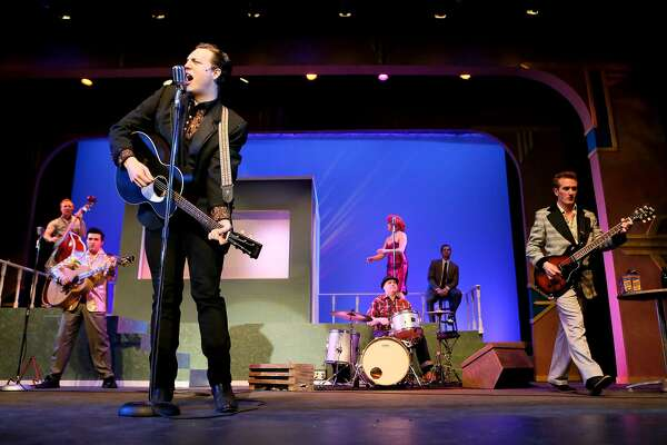 """Stephen Horst, front left, portraying Johnny Cash, sings """"Ghost Riders in the Sky"""" during a rehearsal for the musical """"Million Dollar Quartet"""" at The Public Theater on Sunday, March 17, 2019."""