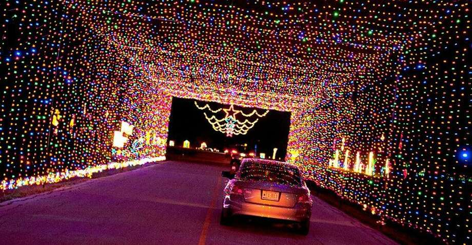 Pasadena is partnering with the city of Grand Prairie to present a holiday drive-through light display and village this year at the Pasadena fairgrounds. This scene is from the annual holiday display presented in Grand Prairie.