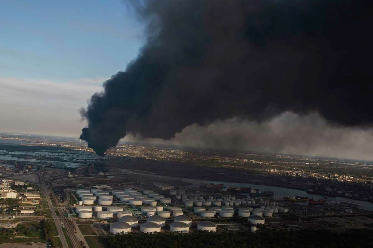 Aerial view of a petrochemical fire at a Deer Park plant on Monday, March 18, 2019, in Deer Park. The plant has been burning since Sunday morning.