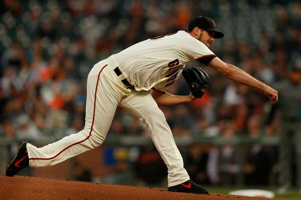 San Francisco Giants starting pitcher Tyler Beede (38) in the first inning of his MLB debut game between the San Francisco Giants and Arizona Diamondbacks at AT&T Park, Tuesday, April 10, 2018, in San Francisco, Calif.