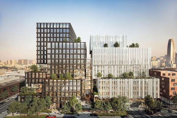 An artist rendering of 88 Bluxome, a mixed-use South of Market project where Pinterest leased 490,000 square feet of office space.