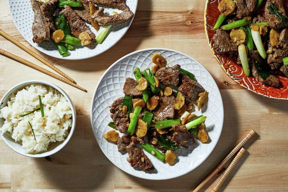 Stir-Fried Beef With Ginger and Scallions. Photo: Photo By Stacy Zarin Goldberg For The Washington Post; Food Styling By The Washington Post's Bonnie Benwick. / For The Washington Post
