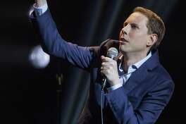 Ryan Hamilton makes a point during his standup routine.