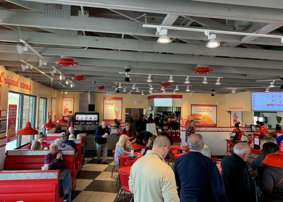 """Freddy's Frozen Custard & Steakburgers opened its doors at 2204 Troy Road in Edwardsville on Tuesday. Customers have been lined up since it opened. """"We're proud to bring Freddy's quality and hospitality to the great city of Edwardsville,"""" General Manager Taylor Dietz said. Photo: Matt Kamp 