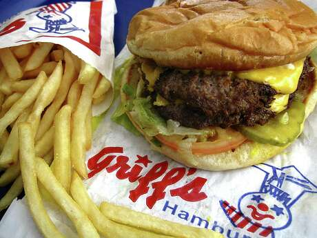 Double Giant Cheeseburger with fries is a popular combo order from Griff's Hamburgers.