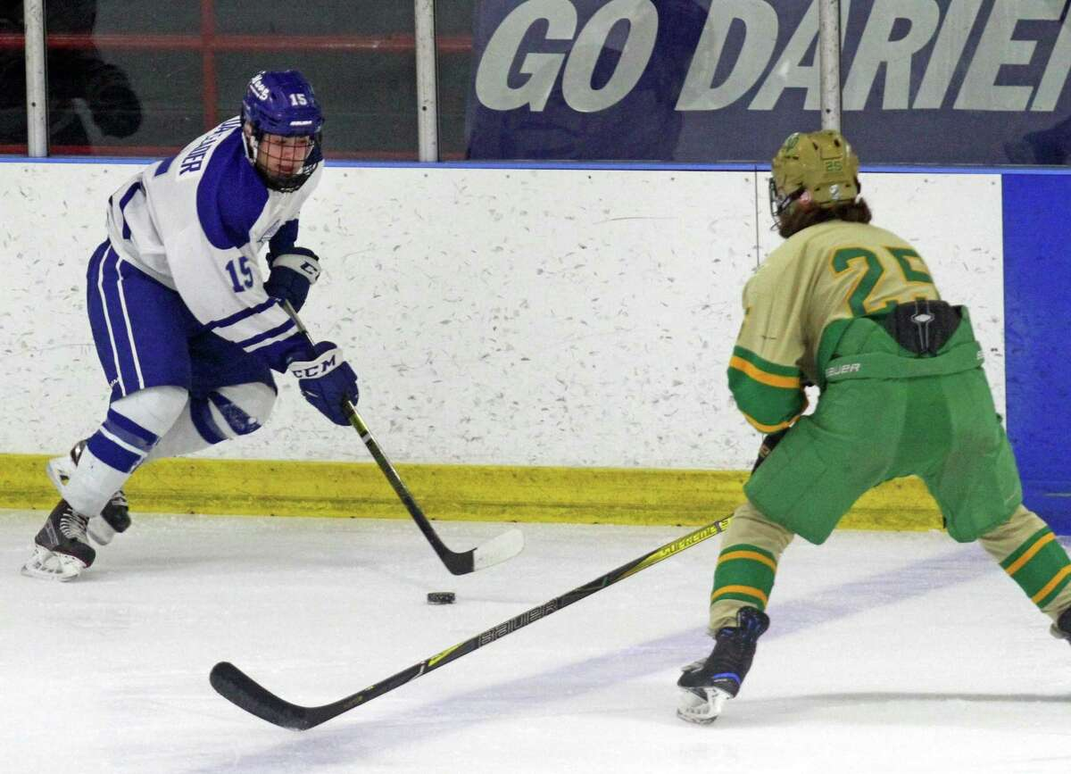 CIAC Division I hockey tournament quarterfinal action between Notre Dame of West Haven and Darien at the Wonderland of Ice in Bridgeport, Conn., on Saturday Mar. 9, 2019.