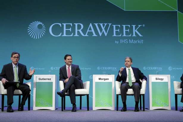 """(from left) Lawrence Makovich, Vice President & Sr. Advisor for Energy and CERAWeek Vice Chairman IHS Markit; Mauricio Gutierrez, CEO of NRG Energy; Curtis Morgan, President & CEO of Vista Energy; and Eric Silagy, President and CEO of Florida Power & Light Co., during a panel discussion titled """"State of the North America Power Business"""" on the fourth day of CERAWeek by IHS Markit at the Hilton Americas-Houston Hotel Wednesday, Mar. 13, 2019 in Houston, TX."""