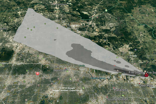 NWS maps show Deer Park fire smoke forecast ... Map Of Gill Rd League City Tx on
