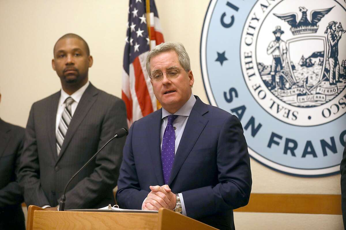 City Attorney Dennis Herrera (middle) and supervisor Shamann Walton (left) today announced joint steps to curb the epidemic of youth e-cigarette use in a press conference in City Hall on Tuesday, March 19, 2019 in San Francisco, Calif.