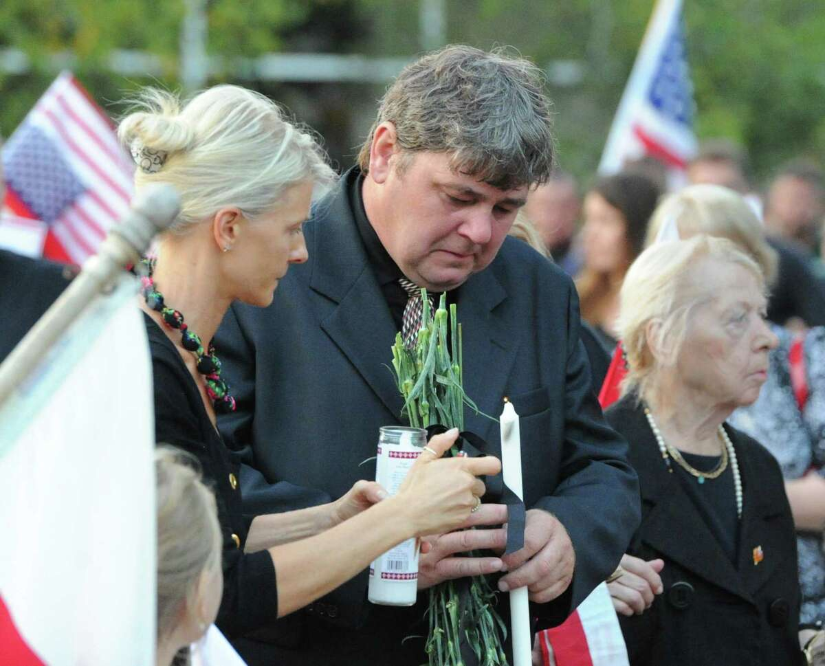 Franciszek Palosz during the Vigil Prayer Service for his son, Bart Palosz, at Greenwich High School, Tuesday night, Sept. 10, 2013. Palosz committed suicide after attending the first day of classes as a sophomore at Greenwich High school. The Palosz family says the suicide is the result of school bullying over a period of years.
