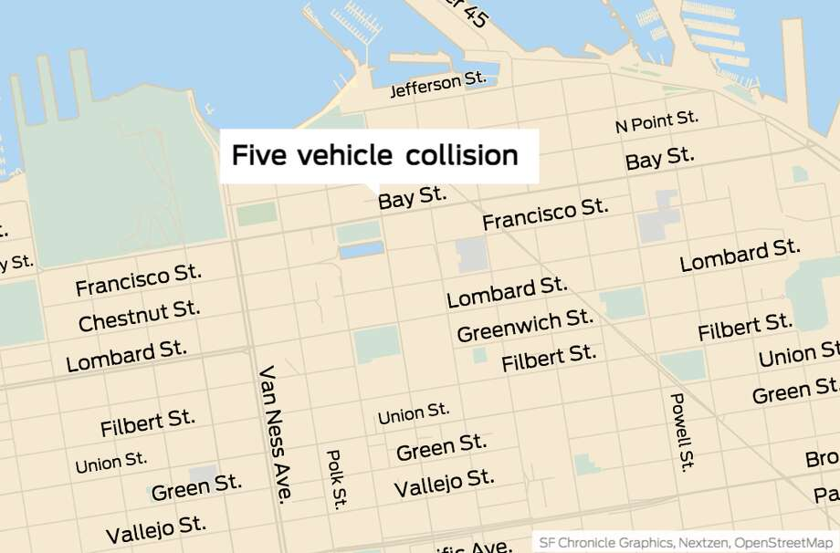 A five-vehicle collision near San Francisco's northern waterfront Tuesday afternoon has sent one person to a hospital with critical injuries, according to the city's fire department. Photo: SF Chronicle Graphics