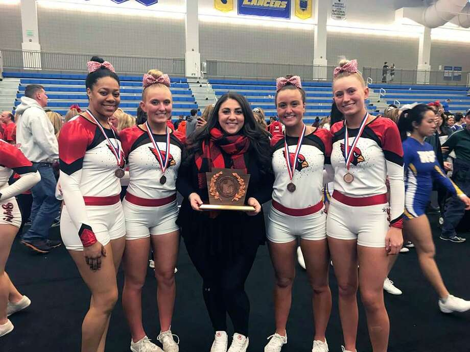 The Greenwich High School cheerleading team finished its season with a third-place finish at the New England Championships this past weekend in Worcester, Mass. Photo: Contributed Photo / Greenwich Time Contributed