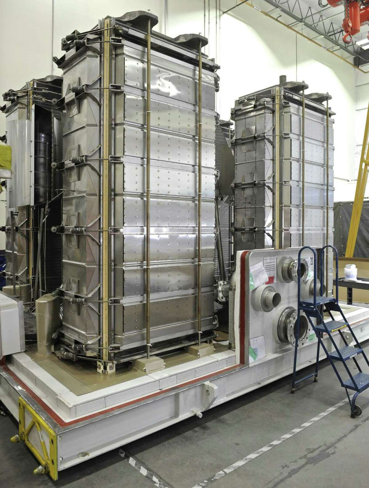 Four fuel cell stacks inside a fuel cell unit at the FuelCell Energy manufacturing plant in Torrington, Conn. Wednesday, February 1, 2017. A steel cover will be added.