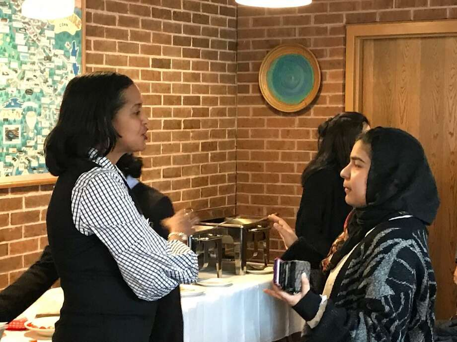 U.S. Rep. Jahana Hayes, D-5, talks with one of about 30 students who met with the congresswoman Tuesday in Cheshire. Photo: Luther Turmelle / Hearst Connecticut Media /