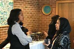 U.S. Rep. Jahana Hayes, D-5, talks with one of about 30 students who met with the congresswoman Tuesday in Cheshire.