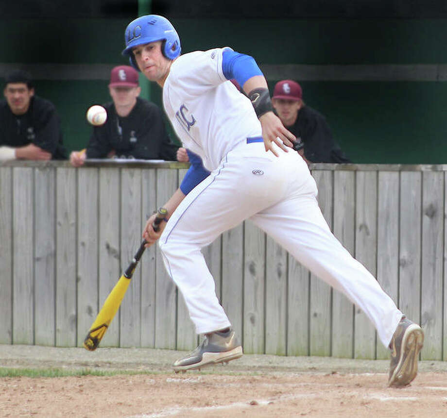 Nick Wilke of LCCC heads for first and watches the ball as it bounces in front of the plate during the second inning of Tuesday's game against St. Charles at LCCC. Photo: Pete Hayes | The Telegraph